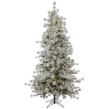 Flocked Anchorage 7.5' Grey Artificial Christmas Tree with 600 LED White Lights with Stand