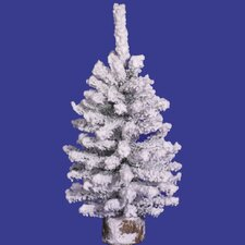 Flocked Mini 1.5' White Pine Artificial Christmas Tree with Unlit