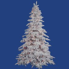 Flocked White Spruce 6.5' Artificial Christmas Tree with 650 Dura-Li Multi-Colored Lights with Stand