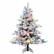 Flocked Alaskan 4.5' White Artificial Christmas Tree with Unlit with Stand