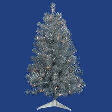 3' Silver Tree Artificial Christmas Tree with 50 Clear Lights