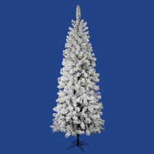 "Flocked Pacific Pine 6' 6"" White Artificial Pencil Christmas Tree with Stand"