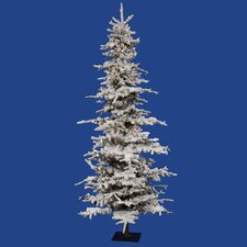 Flocked Georian Fir 7.5' Green Artificial Christmas Tree with 550 Clear Lights with Stand