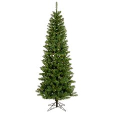 Salem Pencil Pine 6.5' Green Artificial Christmas Tree with 200 Multicolored LED Lights with Stand