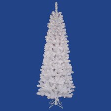 Salem Pencil Pine 8.5' White Artificial Christmas Tree with 450 Clear Lights with Stand