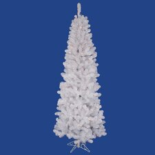 <strong>Vickerman Co.</strong> White Salem Pencil Pine 7.5' Artificial Christmas Tree with 350 Multicolored Lights with Stand