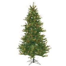 "Mixed Country Pine Slim 6' 6"" Green Artificial Christmas Tree with 400 Clear Lights with Stand"