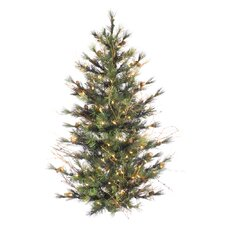 Mixed Country Pine Wall 4' Green Pine Artificial Christmas Tree with 150 Clear Lights with Branches