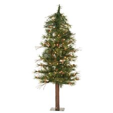 Mixed Country Alpine 5' Green Artificial Christmas Tree with 150 Clear Lights with Stand