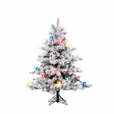 Flocked Alaskan 4.5' White Artificial Christmas Tree with 200 Multicolored Lights with Stand