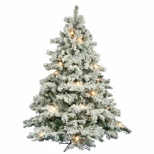 Flocked Alaskan 6.5' White Artificial Christmas Tree with 600 Clear Lights with Stand