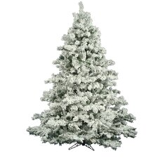 Flocked Alaskan 7.5' White Artificial Christmas Tree with Unlit with Stand