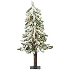 Flocked Alpine 3' White Artificial Christmas Tree with 50 Clear Lights