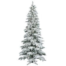 Flocked Utica Fir 7.5' White Artificial Christmas Tree with 360 LED Warm White Lights with Stand