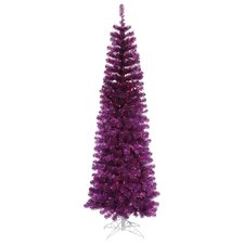 7.5' Purple Artificial Pencil Christmas Tree with 400 Purple Mini Lights