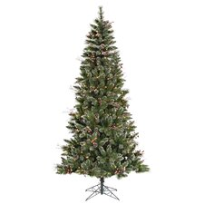9' Green Snowtip Berry/Vine Artificial Christmas Tree with 650 Clear Mini Lights with Stand