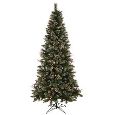 Snow Tip Pine / Berry 9' Pine Artificial Christmas Tree with 650 Multi-Colored Lights