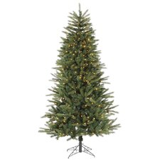 9' Green Bradfo Red Fir Artificial Christmas Tree with 700 Clear Mini Lights with Stand