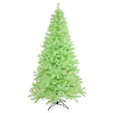 7' Green Chartreuse Artificial Christmas Tree with 500 Green Mini Lights with Stand