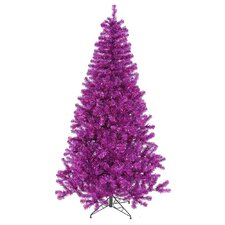 8' Purple Artificial Christmas Tree with 600 Purple Mini Lights with Stand