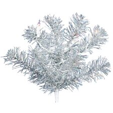 5' Silver Artificial Christmas Tree with 200 Clear Mini Lights with Stand
