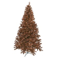 8' Mocha Artificial Christmas Tree with 600 Clear Mini Lights with Stand