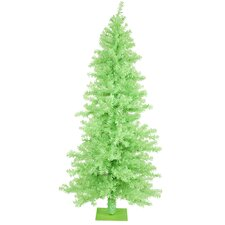 Chartreuse Wide Cut 7.5' Green Artificial Christmas Tree with 300 Green Mini Lights with Stand