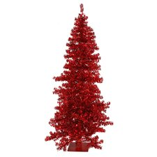 <strong>Vickerman Co.</strong> Red Wide Cut 9' Red Artificial Christmas Tree with 400 Red Mini Lights with Stand