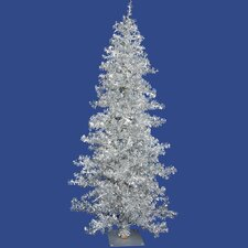 Silver Wide Cut Tree 7.5' Artificial Christmas Tree with 300 Clear Mini Lights with Stand