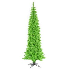 9' Lime Artificial Pencil Christmas Tree with 500 Green Mini Lights with Stand
