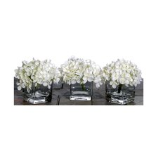 Floral Artificial Potted Premium Mini Hydrangea in White (Set of 3)