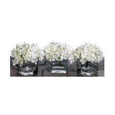 Floral Artificial Potted Premium Mini Hydrangea in White (Set of 3)