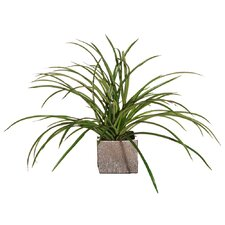Floral Small Artificial Potted Deluxe Grass in Green