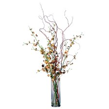 Floral Artificial Potted Dancing Orchid Vase in Multicolor