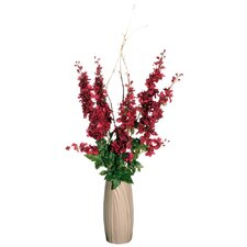 Floral Artificial Potted Delphiniums in Red and Green