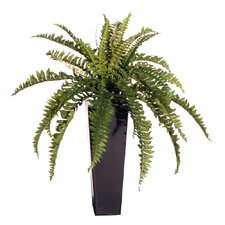 Floral Artificial Double Boston Fern Floor Plant in Decorative Vase