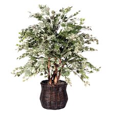 "Deluxe 48"" Artificial Potted Maple Tree in Green and Silver"