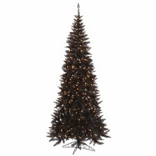 7.5' Black Slim Fir Artificial Christmas Tree with 500 Mini Clear Lights
