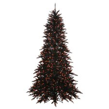 7.5' Black Fir Artificial Christmas Tree with 750 Mini Orange Lights