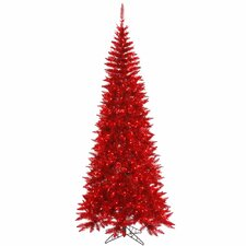 "6' 6"" Tinsel Red Slim Fir Artificial Christmas Tree with 400Mini Lights"