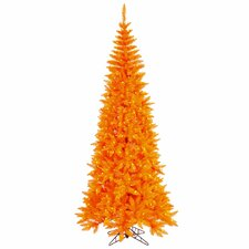 7.5' Orange Slim Fir Artificial Christmas Tree with 500 Mini Lights
