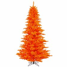 6.5' Orange Fir Artificial Christmas Tree with 600 Mini Clear Lights