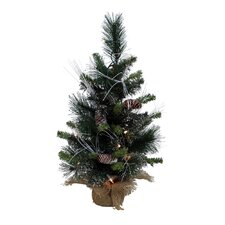 Glitter 2' Green Mixed Pine Artificial Christmas Tree with 20 Lights