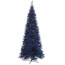 <strong>Vickerman Co.</strong> 7.5' Navy Blue Slim Fir Artificial Christmas Tree with 500 Mini Lights