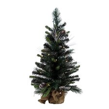 "Glitter 2' 6"" Green Mixed Pine Artificial Christmas Tree with 35 Clear Lights"