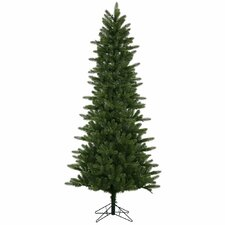 7.5' Green Kennedy Fir Slim Artificial Christmas Tree with 500 LED White Lights with Stand