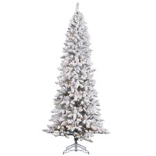 8' White Pine Artificial Christmas Tree with 600 Clear Lights and Flocked Pencil