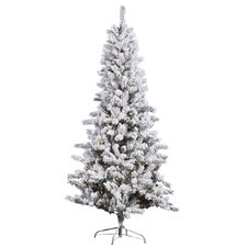 7.5' Slim White Pine Artificial Christmas Tree with 500 Clear Lights and Flocked