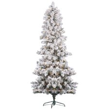 9' White Pine Artificial Christmas Tree with 700 Clear Lights and Flocked