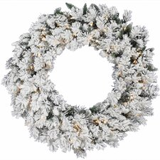 Flocked Snow Ridge Sprays Wreath with 100 Dura-Lit Lights